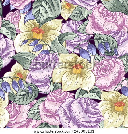 Gentle Spring Seamless Floral Botanical Pattern with Roses and Wildflowers  - stock vector