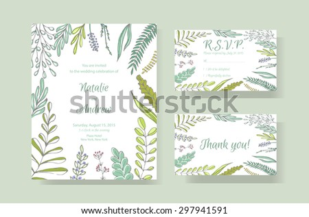 Gentle Vector Wedding Cards Template Wedding Stock Vector