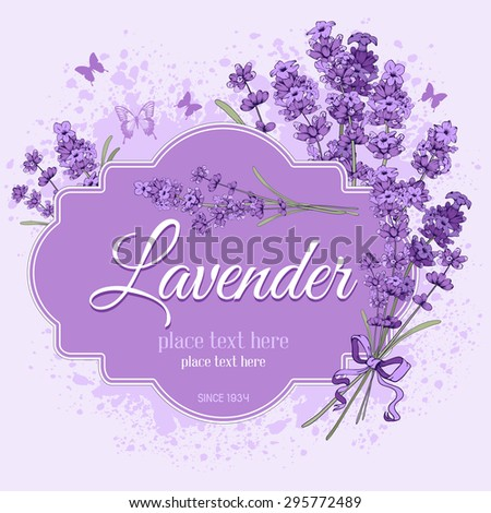 Gentle vintage label with hand drawn floral elements in engraving style - fragrant lavender. Vector illustration. - stock vector