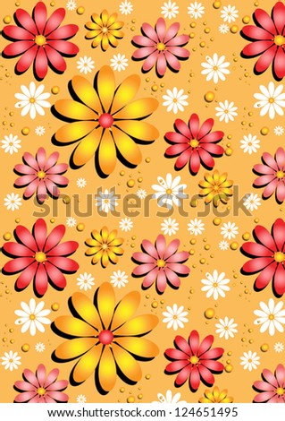 Gentle yellow seamless background with flowers