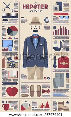 Gentleman and hipster infographic, vector kit - stock vector