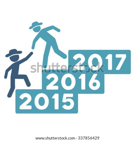 Gentleman Annual Help vector icon. Style is bicolor flat symbol, cyan and blue colors, rounded angles, white background.