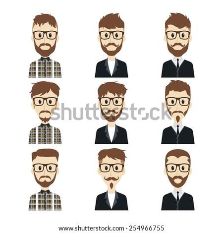 gentleman cartoon set - stock vector