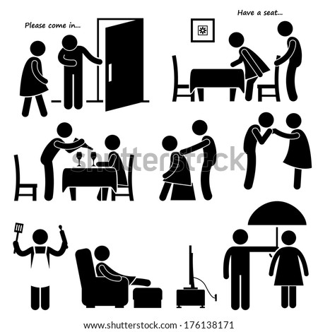 Gentleman Courteous Man Boyfriend Husband Stick Figure Pictogram Icon