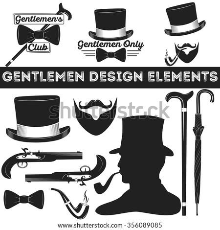 Gentleman design elements set. Vintage gentlemen club logo, gentleman label, design elements for your projects, cards, invitation, gentleman clothes - stock vector