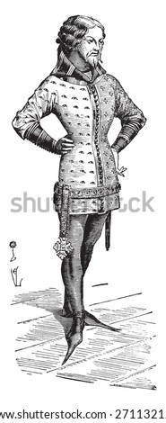 Gentleman dressed in the jacket around 1360, vintage engraved illustration. Industrial encyclopedia E.-O. Lami - 1875.