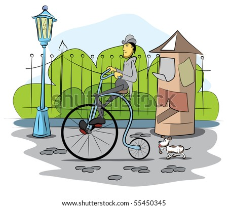 Gentleman drive a retro bicycle by street - vector illustration - stock vector