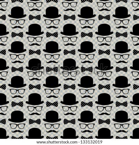 gentleman hat, spectacles & mustache - stock vector