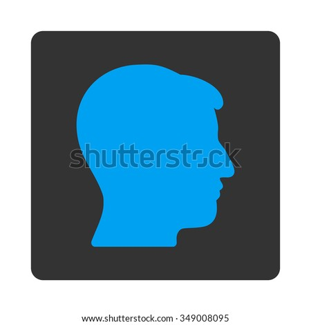 Gentleman Head vector icon. Style is flat rounded square button, blue and gray colors, white background.