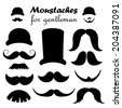 Gentleman icons - hat with mustaches (vector) - stock vector