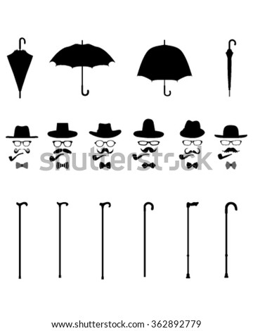 Gentleman icons, isolated vintage and retro, vector - stock vector
