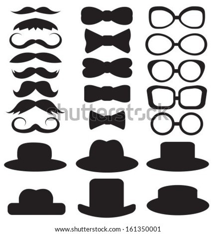 gentleman's set consists of a hat, glasses, mustache and bow ties - stock vector