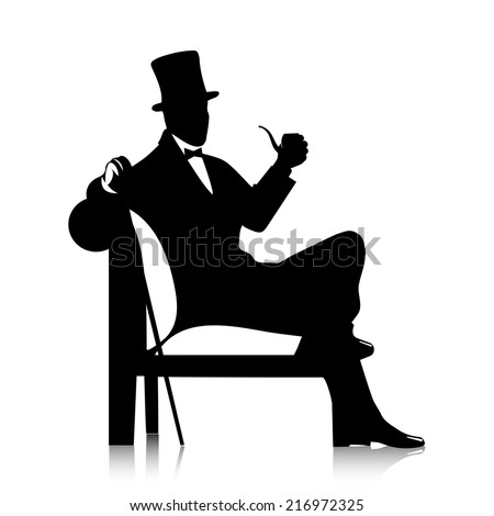 gentleman's silhouette with a tube - stock vector