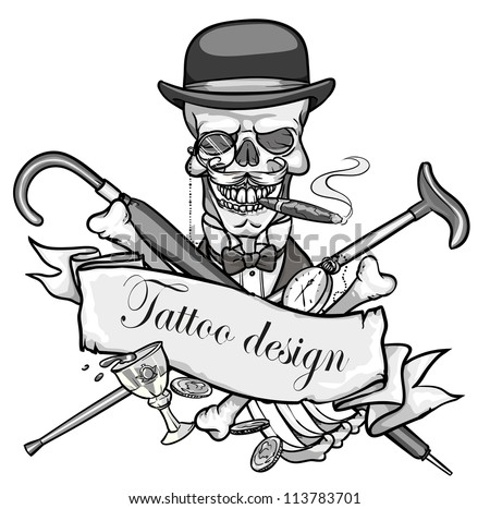 Gentleman's skeleton black and white vector illustration,  tattoo design with space for text - stock vector
