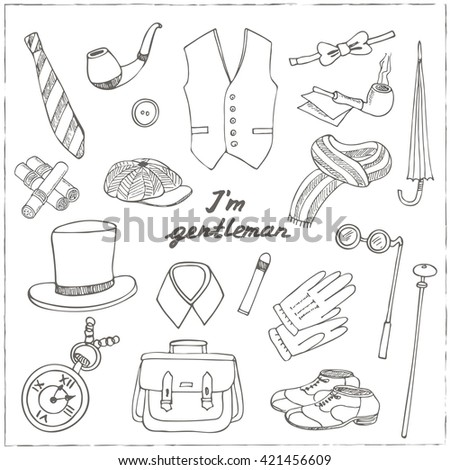 Gentleman's vintage accessories doodle set. Sketches. Hand-drawing. Vector illustration of for design and packages product. - stock vector