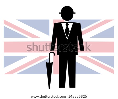 gentleman with hat and umbrella with united kingdom flag in background