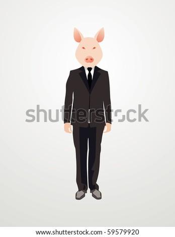 gentlemen with a swine face - stock vector