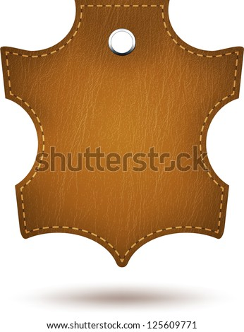 Genuine leather sign tag isolated on white. Vector - stock vector