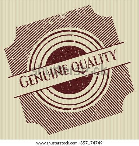 Genuine Quality rubber stamp with grunge texture - stock vector