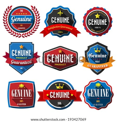 GENUINE,retro vintage badges and labels. Flat design with long shadow .eps10