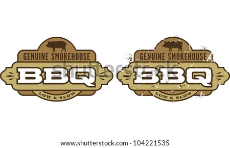 Genuine Smokehouse Barbecue Symbol. Includes clean and grunge versions. - stock vector