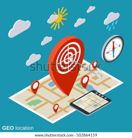 Geo location, navigation flat isometric vector concept illustration