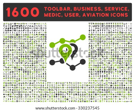 Geo Trends vector icon and 1600 other business, service tools, medical care, software toolbar, web interface pictograms. Style is bicolor flat symbols, eco green and gray colors, rounded angles, white - stock vector
