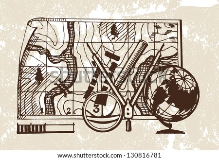 Geodesy. Vector illustration - stock vector