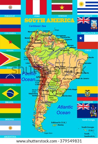 Geographic map south america flags states stock vector 379549831 geographic map of south america with flags of states highly detailed vector illustration flags gumiabroncs Gallery