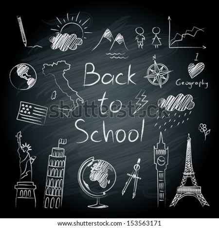 Geography doodles on the blackboard - stock vector