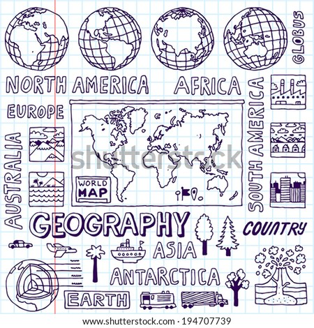 Geography. Hand drawn. Vector illustration. School notebook. - stock vector