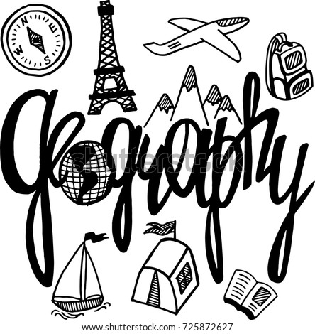 Geography Subject Hand Drawn Lettering School Stock Vector ...
