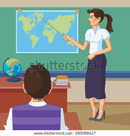 Geography teacher in the classroom on the background of the ...