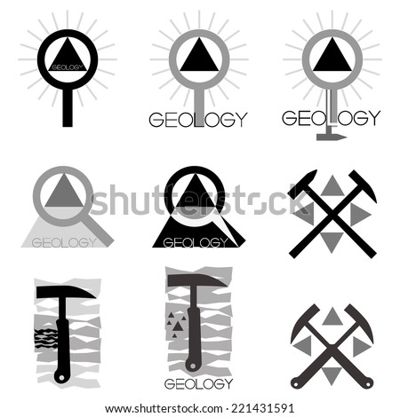 Geology emblem Set of emblems and line length on the topic geology, vector illustration.