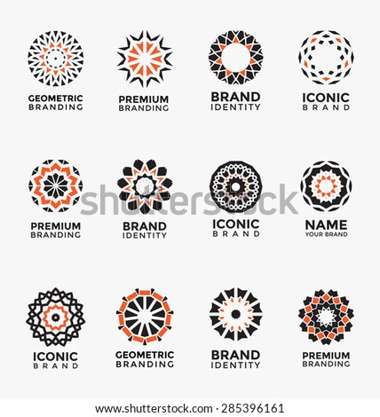 Geometric abstract brand identity icon set - stock vector