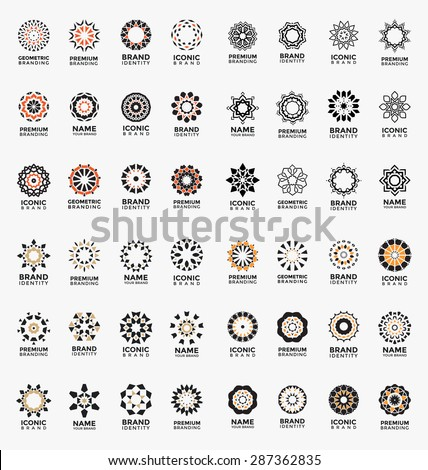 Geometric abstract brand identity icons - Mega set of arabic style logo templates - Ornamental vector symbols - Graphic Design Collection - stock vector