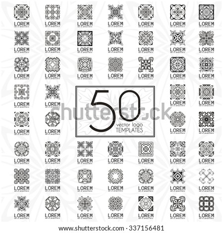 Geometric abstract brand identity icons. Mega set of arabic style logo templates. Ornamental vector symbols. Graphic Design Collection - stock vector