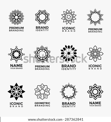 Geometric abstract brand identity icons - Set of twelve arabic style logo templates - Ornamental vector symbols - Graphic Design Collection - stock vector