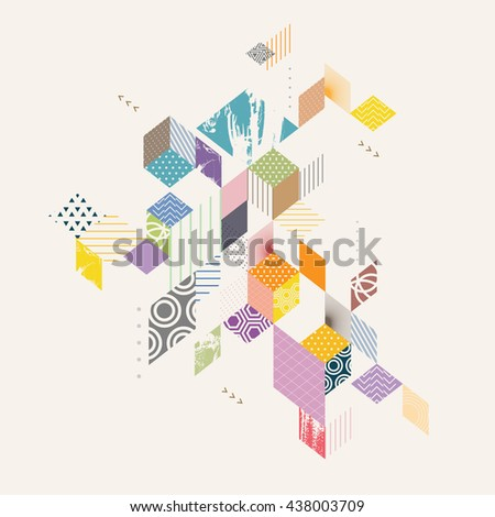 Geometric abstract flat background  - stock vector