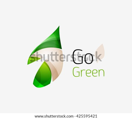 Geometric abstract leaf business logo. Vector illustration