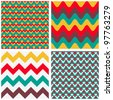 Geometric abstract seamless patterns set #3 - stock vector