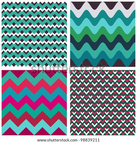 Geometric abstract seamless patterns set. Can be used for wallpaper, fills, background for web page, textures - stock vector