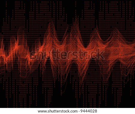geometric abstract wave sound - red vector - stock vector