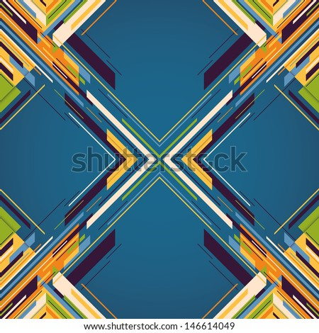 Geometric abstraction with colorful elements. Vector illustration. - stock vector