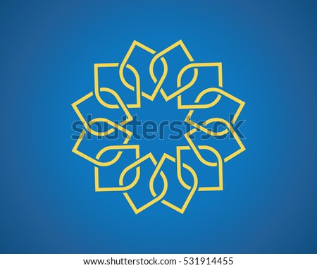 geometric arabic pattern on blue