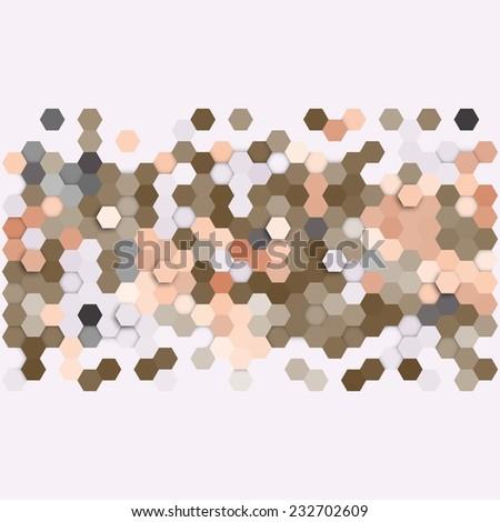 Geometric background, abstract hexagonal retro pattern vector - stock vector