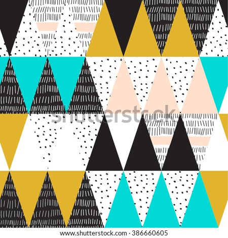 Geometric background in retro 80s style - stock vector