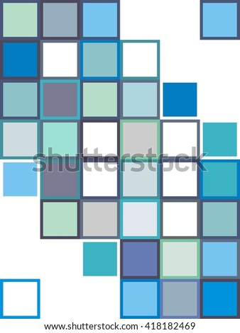 Geometric background rectangles and squares vector. Blue color. The patchwork or quilt. Quilt  pattern vector. Vector background of abstract squares. Background design for poster, cover, brochure.