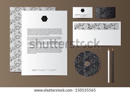 Geometric black and white corporate identity - stock vector