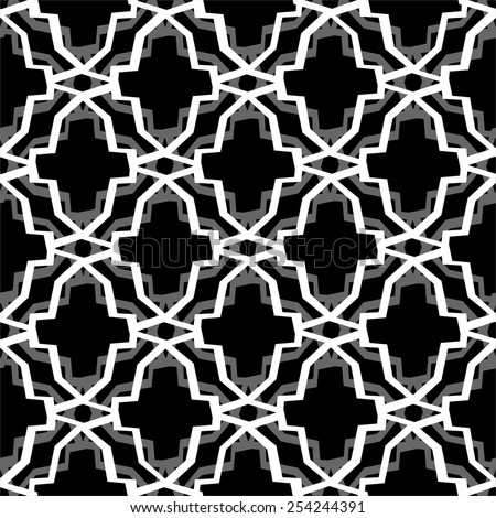 Geometric black and white seamless pattern - stock vector